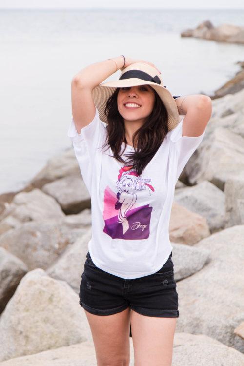 Camiseta estampada mangas murciélago Decage