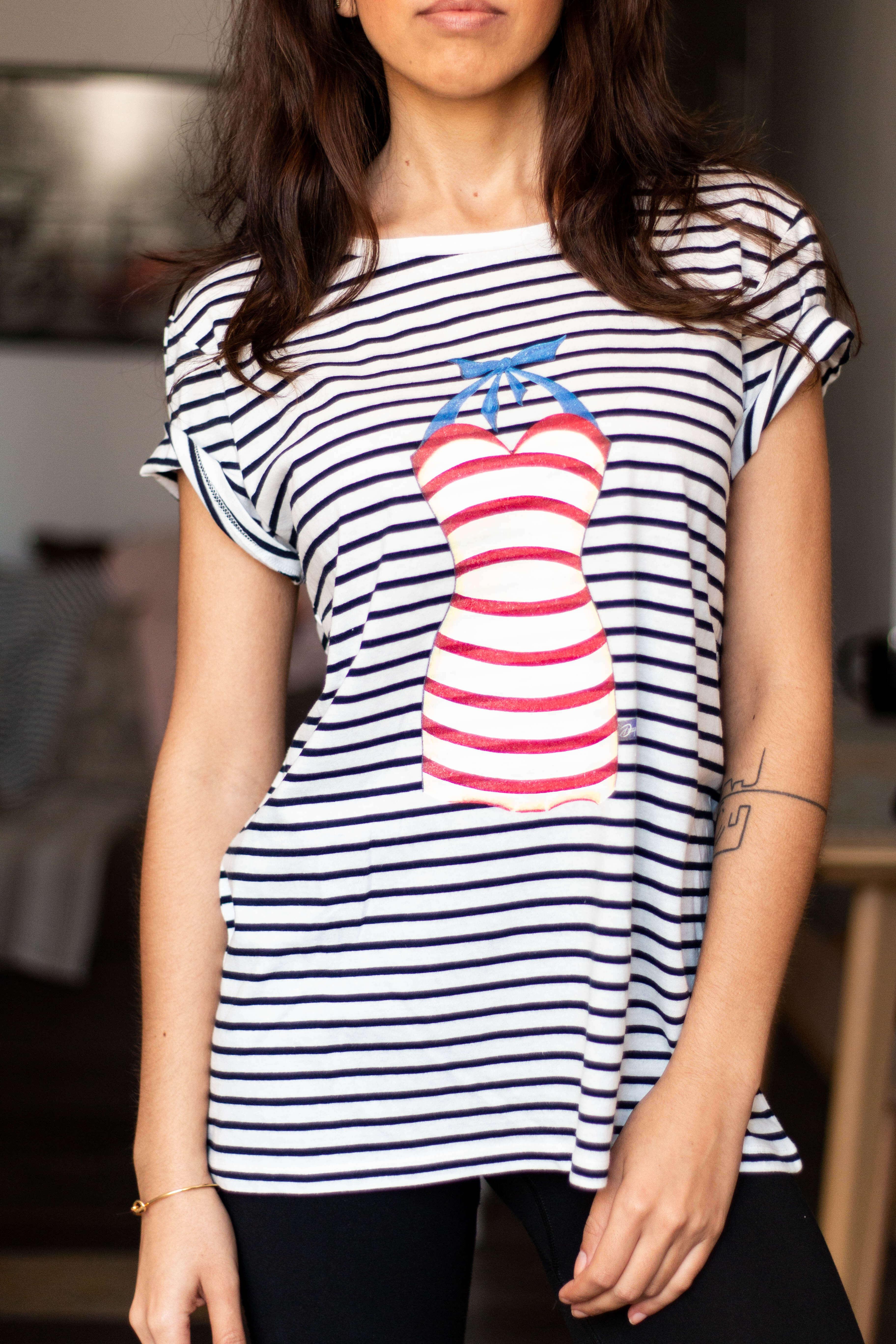Camiseta decage rayas manga corta