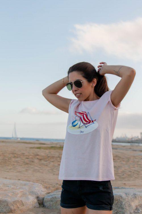 Camiseta rosa playa vintage decage